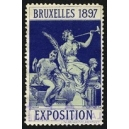 Bruxelles 1897 Exposition (Trompeterin - dunkelblau Rand weiss)