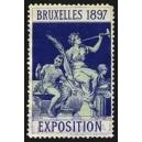 Bruxelles 1897 Exposition (Trompeterin - dunkelblau Rand weiss)