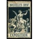 Bruxelles 1897 Exposition (Trompeterin - dunkelgrün Rand grau)