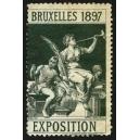 Bruxelles 1897 Exposition (Trompeterin - dunkelgrün Rand weiss)