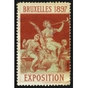Bruxelles 1897 Exposition (Trompeterin - türkis rot Rand weiss)